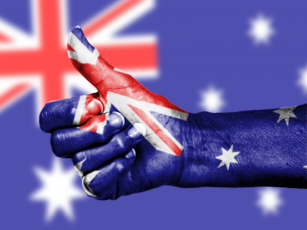 Australian flag on thumbs up hand