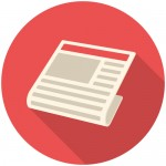 News, modern flat icon with long shadow